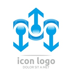 Arrow blue design symbol abstract vector