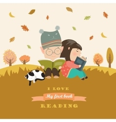Kids reading book at autumn meadow vector