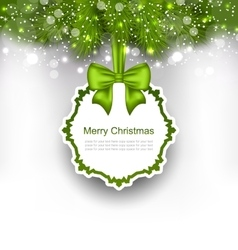 Celebration card with bow ribbon and fir branches vector
