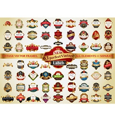 63 vintage labels vector image