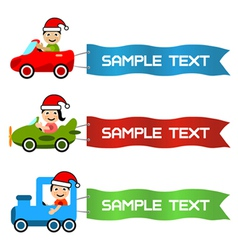 Cartoon kids driving toy vehicle with message flag vector
