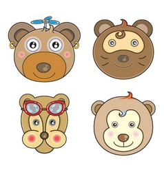 Cartoon animal faces vector