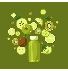 Ingredients for green smoothie vector