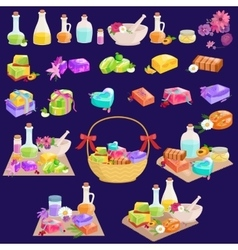Homemade bars soaps flowers and essential oil vector