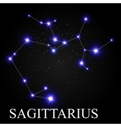 Sagittarius zodiac sign with beautiful bright vector