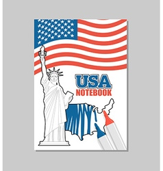 Usa notebook american covers for coloring booklet vector