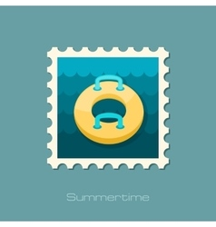 Towable water tube inflatble boat stamp vacation vector
