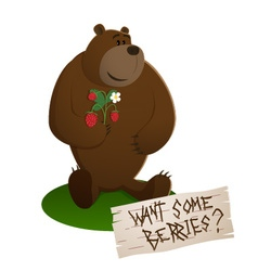 A brown smiling sitting bear vector