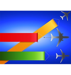 Airplanes flying with banners vector image
