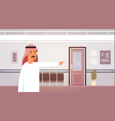 arab business man point finger on doors vector image vector image