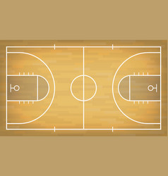 basketball court with wooden floor view from above vector image vector image