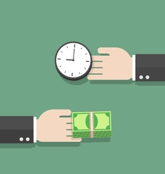 Businessman hand exchanging time and money to each vector