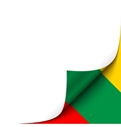 Curled paper corner with lithuania flag background vector