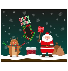 Cute fat big santa claus and reindeer signal to vector