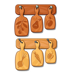 Cutting boards on nails kitchen wooden implements vector