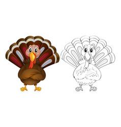 Doodle animal for wild turkey vector