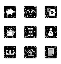 Finance icons set grunge style vector image vector image