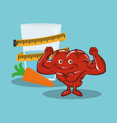 fitness heart healthy diet nutrition vector image