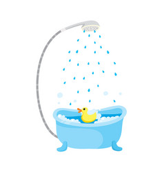 Flat bathtub with shower duck toy vector