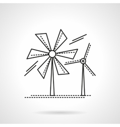 Flat line wind turbines icon vector