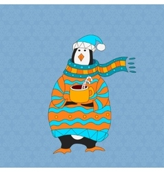 Funny penguin Christmas hat vector image