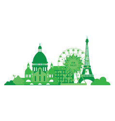 Green city silhouette in flat design eco paris vector