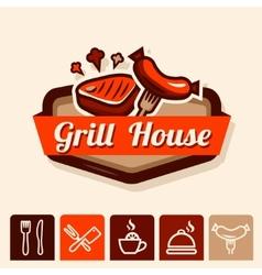 Grill house emblem vector