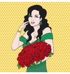 Happy woman holding a rose flower hands vector image