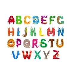 Monster funny alphabet vector image vector image