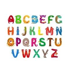 Monster funny alphabet vector image
