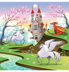 Pegasus unicorn and dragon in a mythological vector