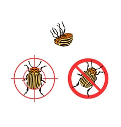 Prohibition sign colorado beetles icon vector