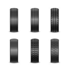 Realistic tires with different tread marks auto vector