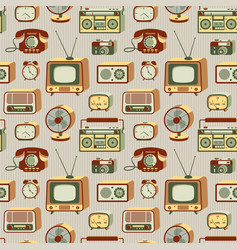 Retro electronics pattern vector