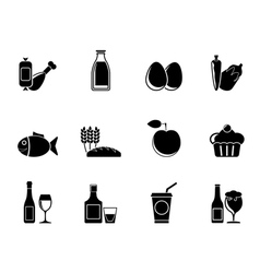 Silhouette Food and drink icons vector image vector image