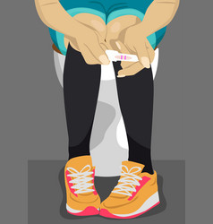 Teenage girl holding pregnancy test vector