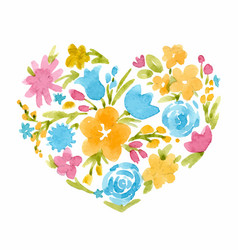 Watercolor abstract floral heart vector