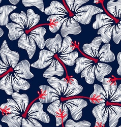 White hibiscus tropical embroidery floral seamless vector image