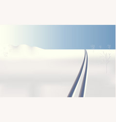 Winter landscape frozen ski tracks vector