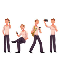 Young man using phone smartphone calling vector