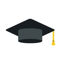 Black graduation cap icon flat style vector