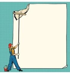 worker painter sticks white poster vector image
