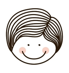 Silhouette front face boy with striped hair vector