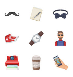 a set of icons about the style of a hipster a vector image