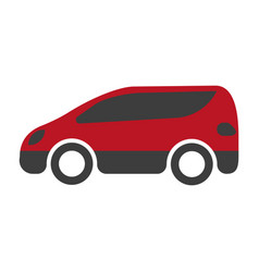 Red and black spacious minibus on white background vector