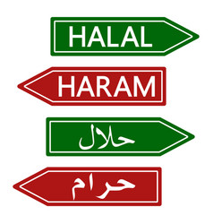 Halal and haram road sign muslim banner vector