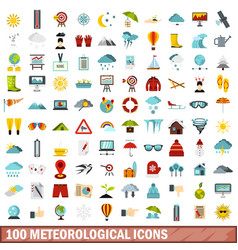 100 meteorological icons set flat style vector