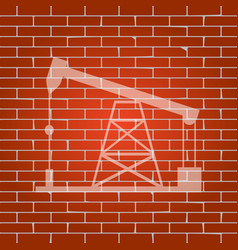 Oil drilling rig sign  whitish icon on vector