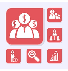 Business flat red icons vector