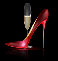 red shoe and drink vector image